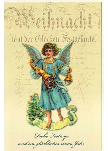 Weihnachtskarte nostalgisch Engel blau