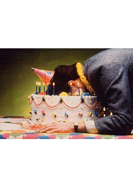 Postkarte Geburtstag Gesicht in Torte