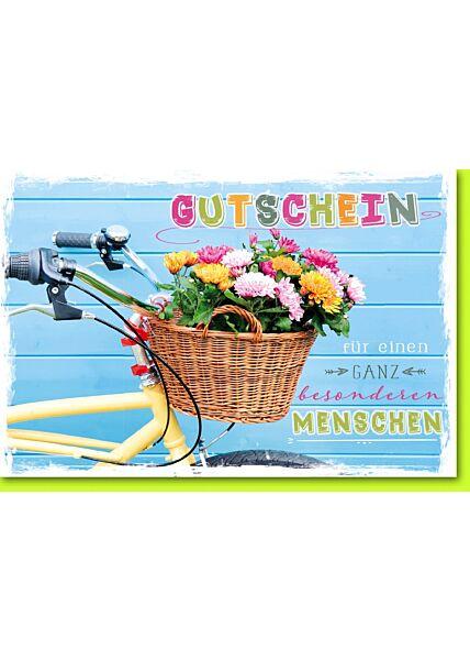Gutscheinkarte Fahrrad mit Blumenkorb