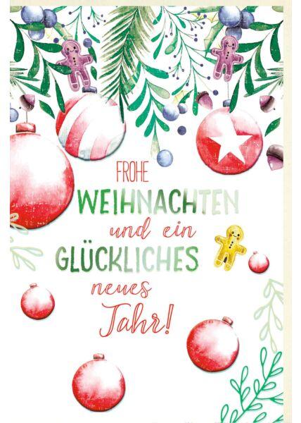 Weihnachtsgrusskarte gezeichnet liebevoll Weihnachtskugeln