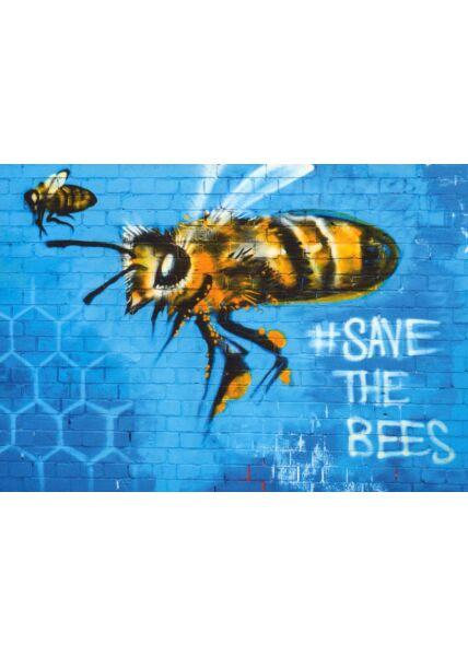 Kunstpostkarte Street Art Save the Bee