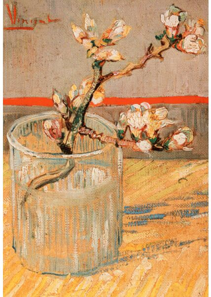 Kunstkarte Vincent van Gogh - Blühender Mandelbaumzweig in einem Glas