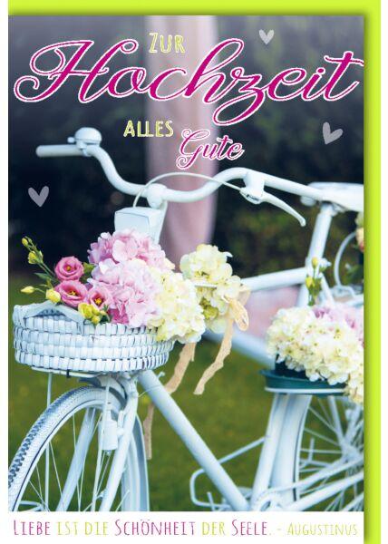 Glückwunschkarte Hochzeit Weißes Fahrrad mit Blumenkorb