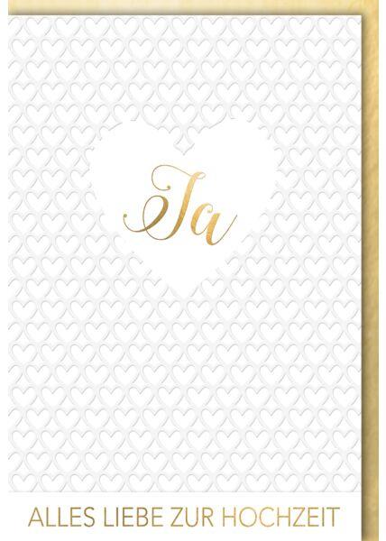 Karte Hochzeit Glückwunsch premium JA Herz