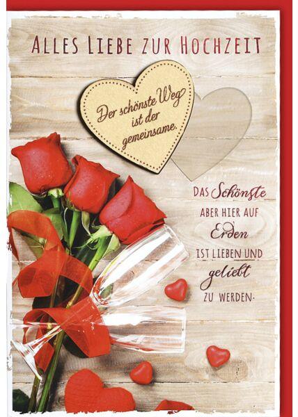 Hochzeitskarte Sektgläser an roten Rosen mit Holzherz