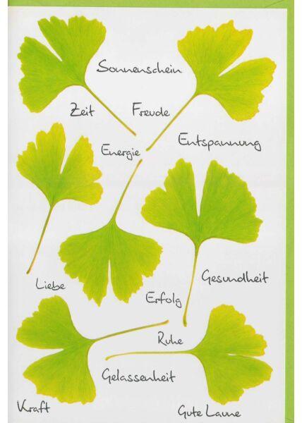 Grußkarte Wünsche Zeit, Freude, Energie, Ruhe, Liebe