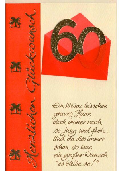 Glückwunschkarte 60 Geburtstag Ein kleines bisschen graues Haar..