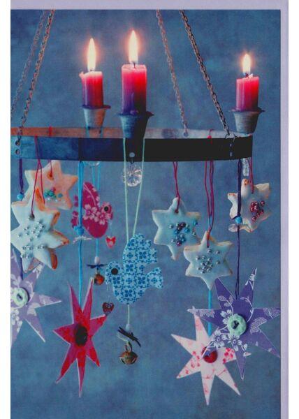 Weihnachtskarte schönes Foto Kerzen und Sterne