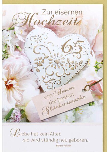 Eiserne Hochzeitskarte - Herz mit Ornamenten