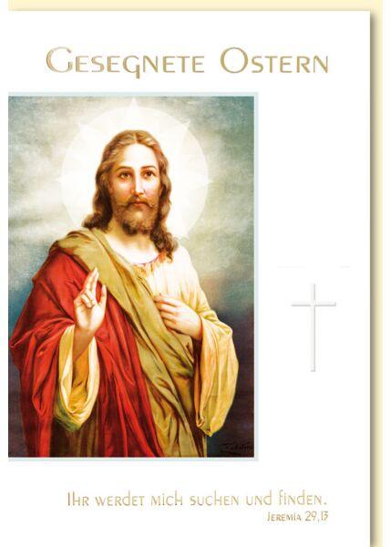 Osterkarte christlich Jesus mit Kreuz