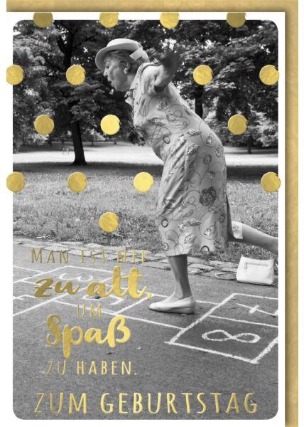 Geburtstagskarte lustig Spruch Dame beim Himmel & Hölle spielen