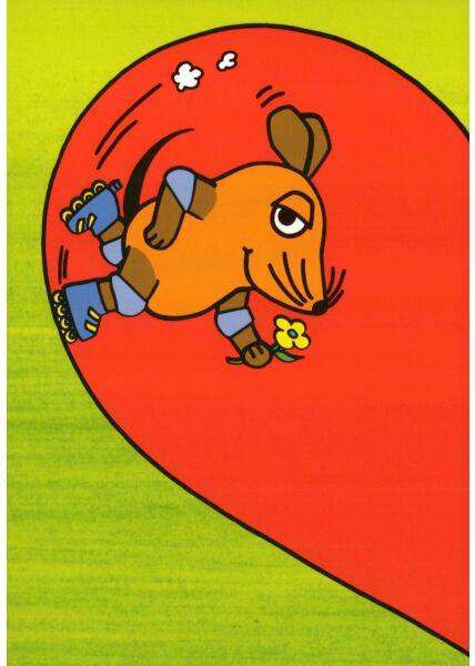 Maus-Postkarte Maus im halben Herz Teil 1