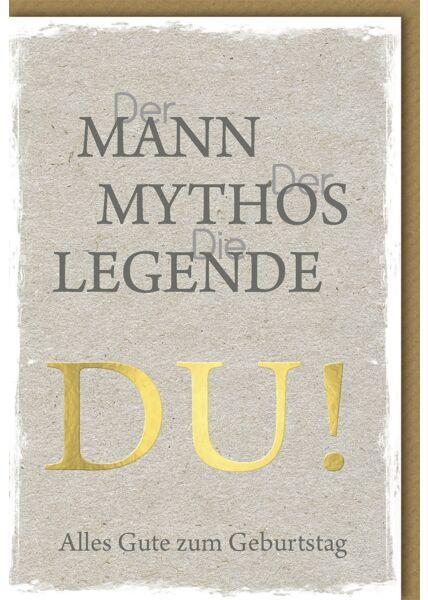 Geburtstagskarte für Männer Mann, Mythos, Legende