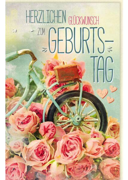Glückwunschkarte Geburtstag Rosen, Fahrrad, Naturkarton