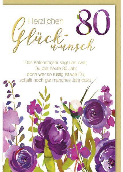 Geburtstagskarte 80 Das Kalenderjahr sagt uns..