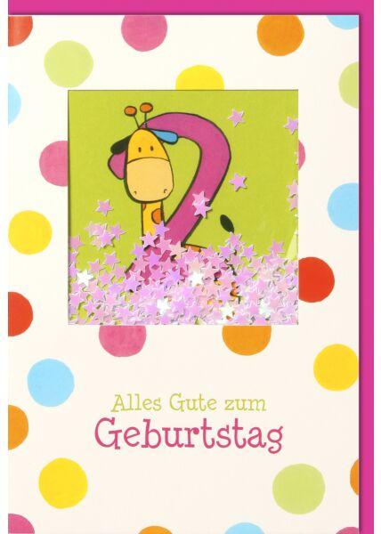 Geburtstagskarten für Kinder 2. Geburtstag Schüttelkarte, Giraffe