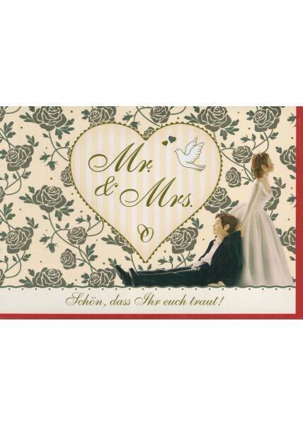 Hochzeitskarte witzig: Mr u Mrs