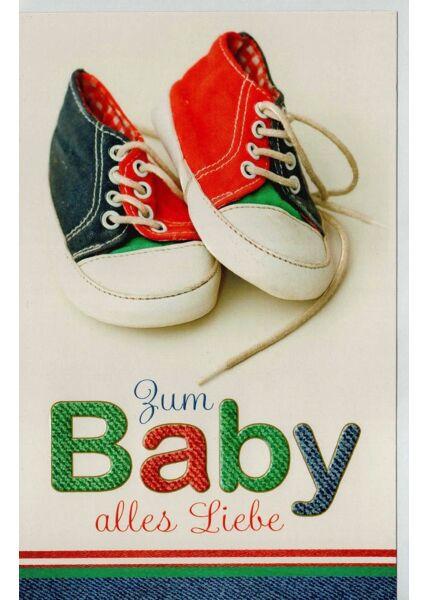 Karte Geburt Baby Schuhe alles Liebe