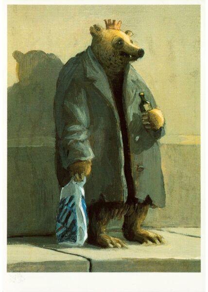 Witzige Postkarte Bär mit Bier und Tüte