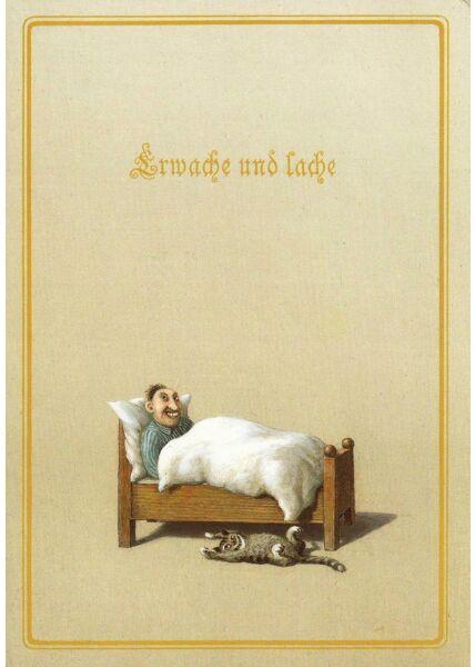 Postkarte witzig Erwache und lache