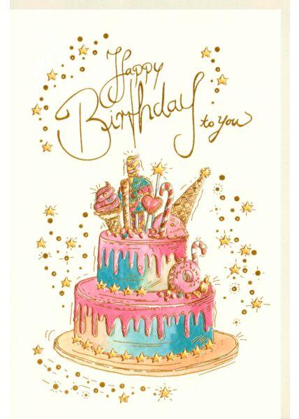 Karte Geburtstag Goldfolie Torte Happy Birthday