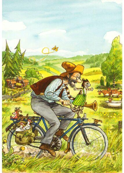 Postkarte Pettersson und Findus Fahrradtour