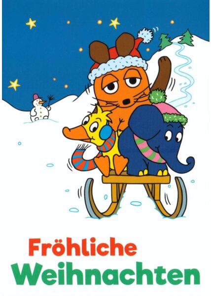 Maus-Postkarte Fröhliche Weihnachten