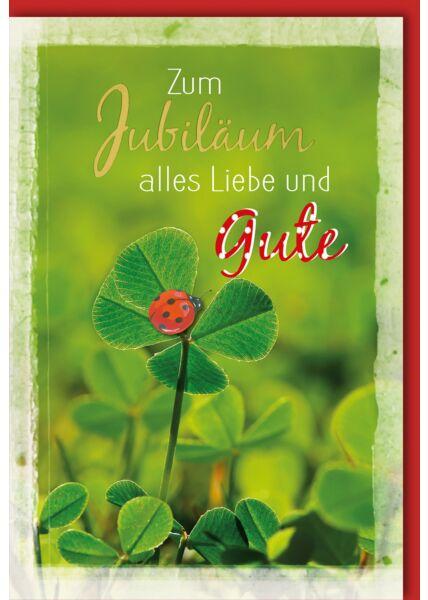 Jubiläumskarten Kleeblatt mit Käfer