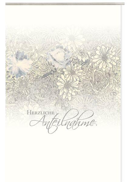 Trauerkarte hochwertig premium Naturkarton Herzliche Anteilnahme