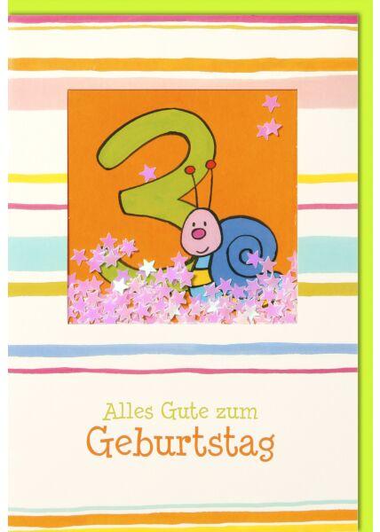 Geburtstagskarte für Kinder 3. Geburtstag Schüttelkarte - Blaue Schnecke