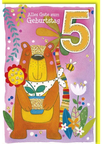 Geburtstagskarte für Kinder 5 Jahre Bär mit Hummel