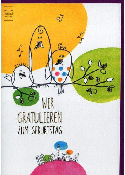 Geburtstagskarte lustig: singende Vögel