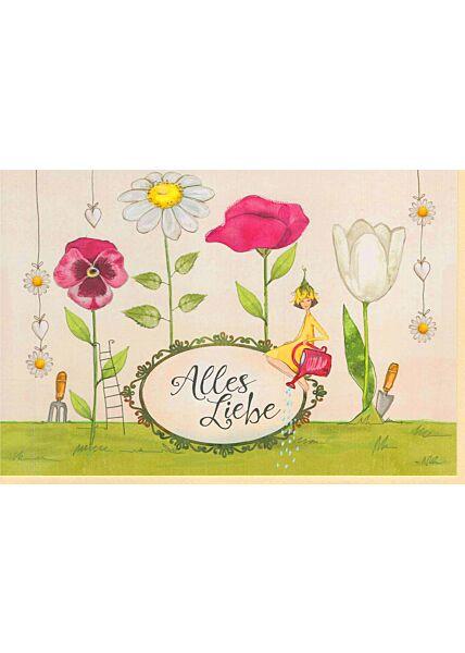 Grußkarte liebevoll Illustration: Alles Liebe