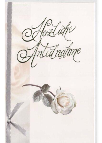 Stilvolle Trauerkarte mit Folienprägung Herzliche Anteilnahme