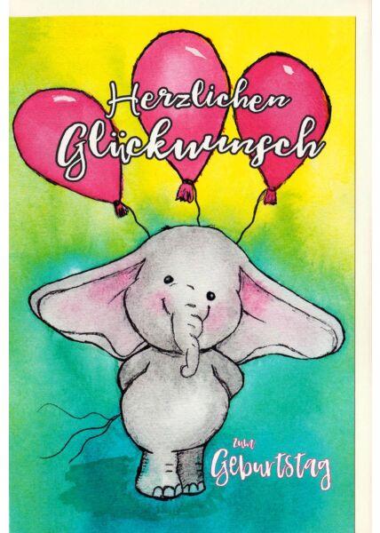 Karte Kindergeburtstag Elefant mit Luftballons