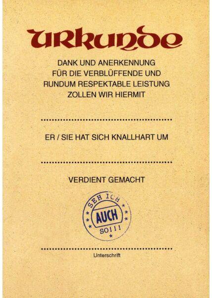 Postkarte Urkunde lustig