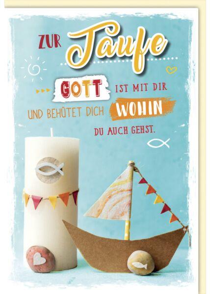 Glückwunschkarte Taufe - Taufkerze und Boot