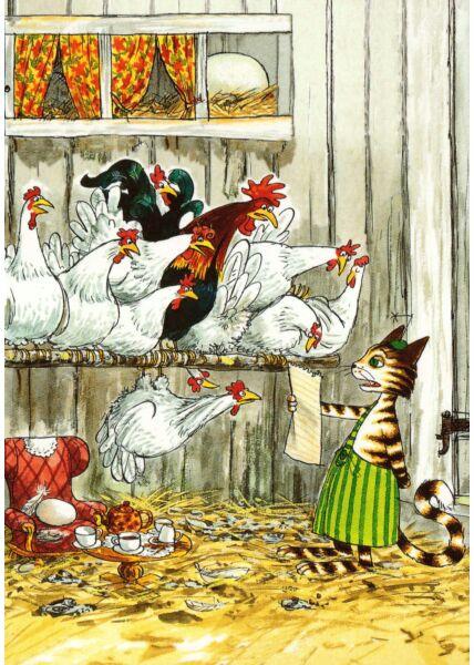 Postkarte Pettersson und Findus Im Hühnerstall