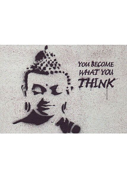 Kunstpostkarte Street Art Buddha on the Wall