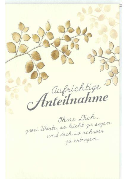 Trauerkarte Blätter, Naturkarton, mit Silberfolie und Blindprägung ohne dich