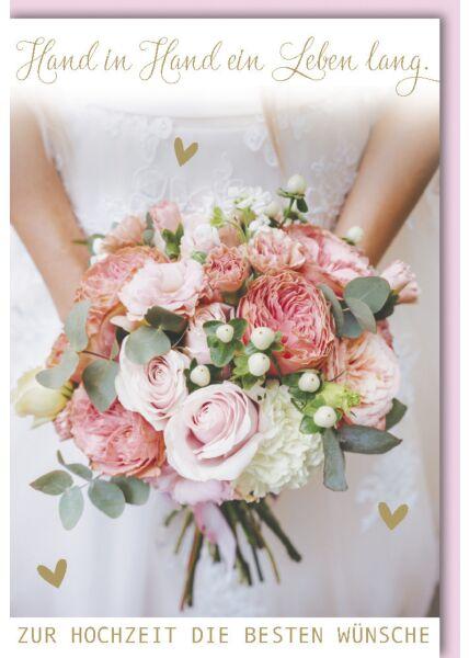 Hochzeitskarte Hochzeit - Rosafarbener Hochzeitsstrauß