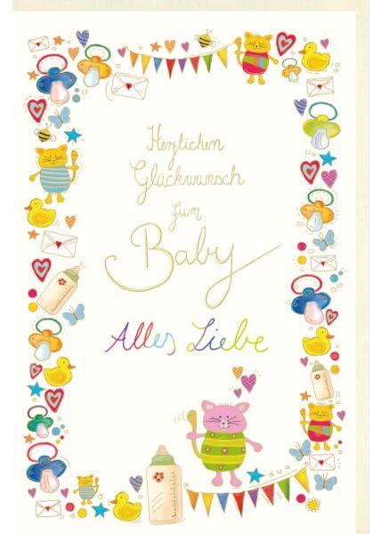 Glückwunschkarte Geburt Naturkarton zum Baby Alles Liebe