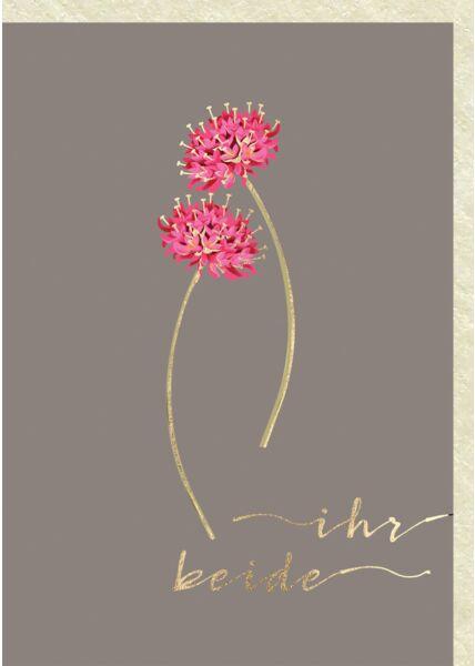 Glückwunschkarten Hochzeit 2 Kleeblüten Ihr Beide