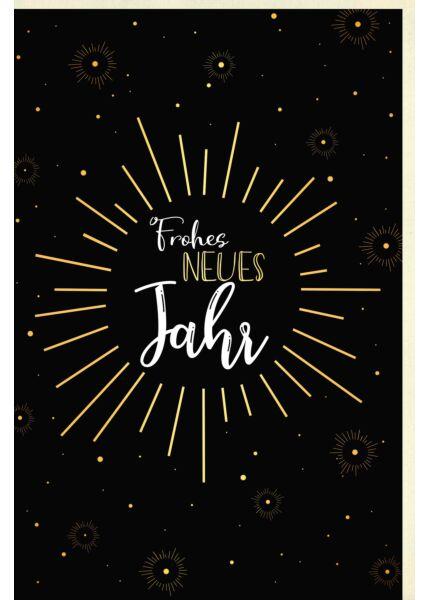Neujahrskarte Schriftkarte, mit Goldfolie