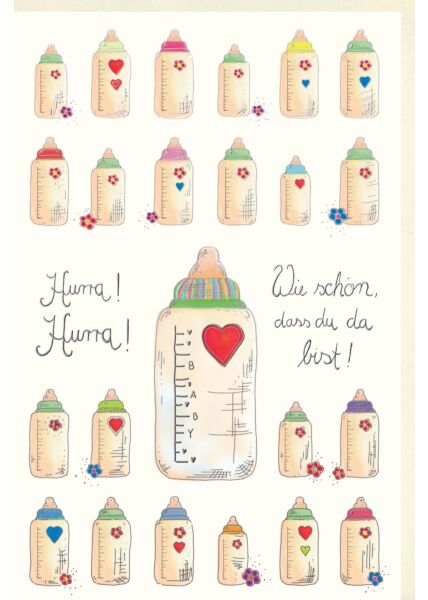 Glückwunschkarte Geburt Baby hochwertig: Hurra Hurra