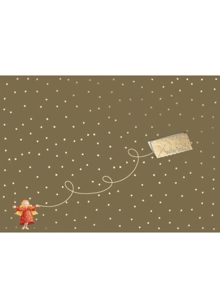 Weihnachtspostkarte Santa Post - Engel mit Umschlag