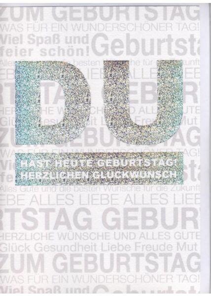 DIN A4 Maxikarte XXL große Geburtstagskarte (Naturpapier + Silberfolie): Herzlichen Glückwunsch