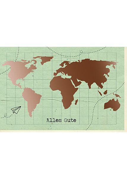 Abschiedskarte Kollege Weltkarte, mit kupferfarbener Metallicfolie