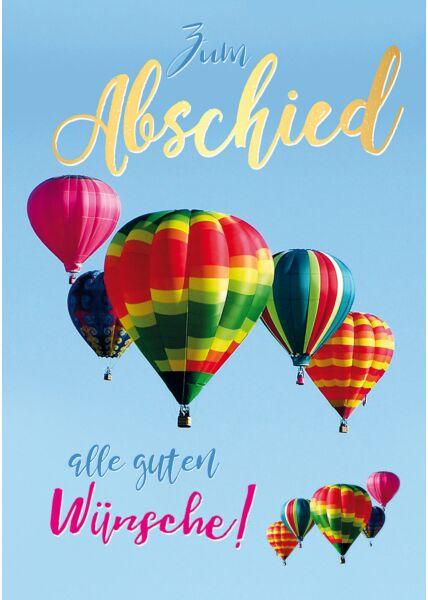 A4 Maxi Abschiedskarte Kollege Luftballons