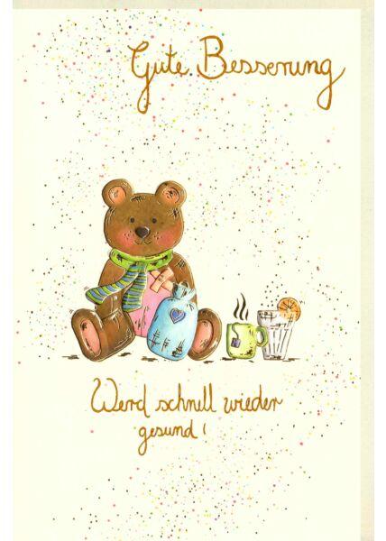 Karte Genesung, Teddy mit Wärmflasche und Getränke